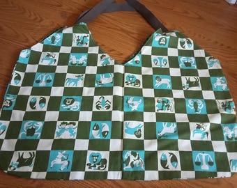 Zodiac Market  Tote bag Made with vintage Fabric - on sale 50% off
