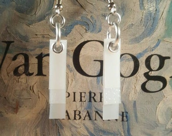 Recycled plastic milk jug earrings - eco friendly sustainable design - handmade in Indiana - white translucent fun and funky