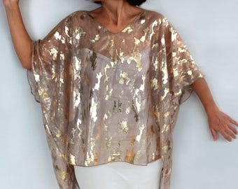 Plus Size Gold  Tunic Kimono Sheer Poncho Evening Formal Special Occasion Dress Beach Cover up, Handmade Fashion