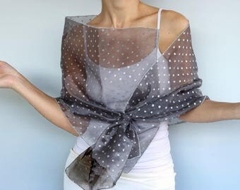 Gray Organza Evening Shawl, Silver Shimmery Polka Dot Shawl, Mother of the Bride Evening Stole Scarf, Shoulder Wrap, Dress Cover up Fashion
