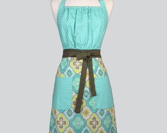 Cute Kitsch / Womens Retro Apron in Aqua Tone on Tone Bodice and Coordinating Skirt Vintage Style Chef Gift Ideas for Her