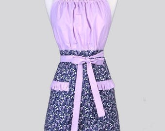 SALE Cute Kitsch Womens Apron / Dreamscape Navy and Amethyst Retro Vintage Style Kitchen Cooking Apron with Pockets and Ruffled Trims