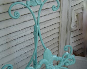 Fleur De Lis Easel Wedding / Picture Stand / Shabby Chic Decor Gold White Ivory Pink Robins Egg Blue Navy Red Black Cast Iron  / (refpbb)