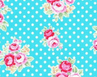 Flower Sugar Fall 2016 Sweet Carnival Collection Cotton Fabric by Lecien 31375-70  Pink Blue Rose on Dot