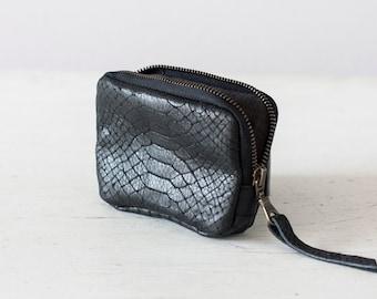 Zipper case black snakeskin leather, coin purse zip phone case money bag credit card purse zip purse - The Myrto Zipper pouch