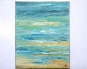 Abstract beach painting in aqua blue tones, original vertical painting 16x20 abstract painting, seascape shoreline