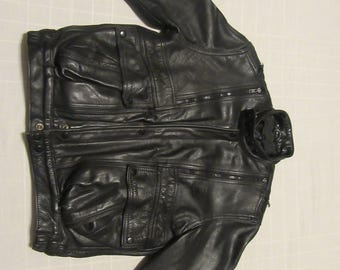 Motorcycle Jacket - FIRST Genuine Leather - Vintage 80's 90's - Men's Size 40 - Small/Medium - Black - Zip - Thinsulate