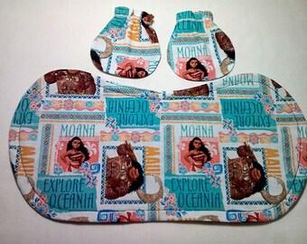 Moana Baby Mitts and Burp Cloth Combo