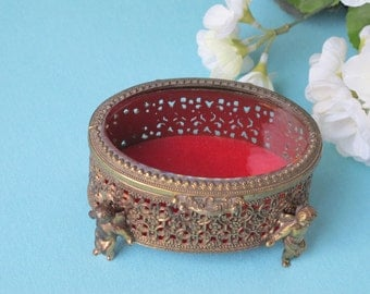 Romantic Trinket Box Dresser Boudoir Jewelry Casket Brass Filigree Cute Cherub Angel Legs Heavy Bevelled Glass Lid c.1960's