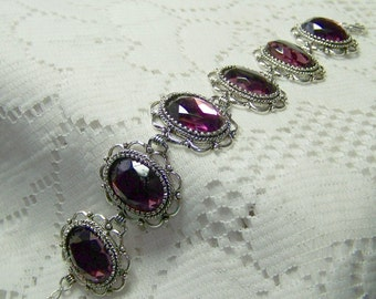 Amethyst Bracelet,  Jewel Bracelet, Glass Jewel Victorian Florentine Lace Filigree Antique Silver Cuff, Czech Glass, February Birthstone