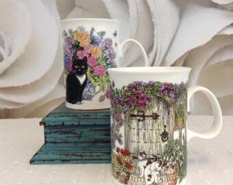 Dunoon Ceramics Lot of 2 Fine Bone China Made in England Cat Tea Coffee Mugs by Sue Scullard