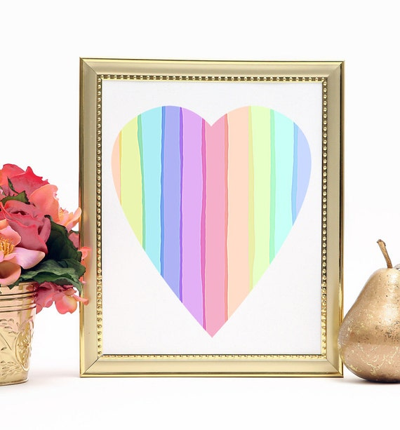 Rainbow Heart, Valentine Art, Digital Download, Rainbow Wedding Love, heart shape pretty pale rainbow stripes, love lives here, wall art