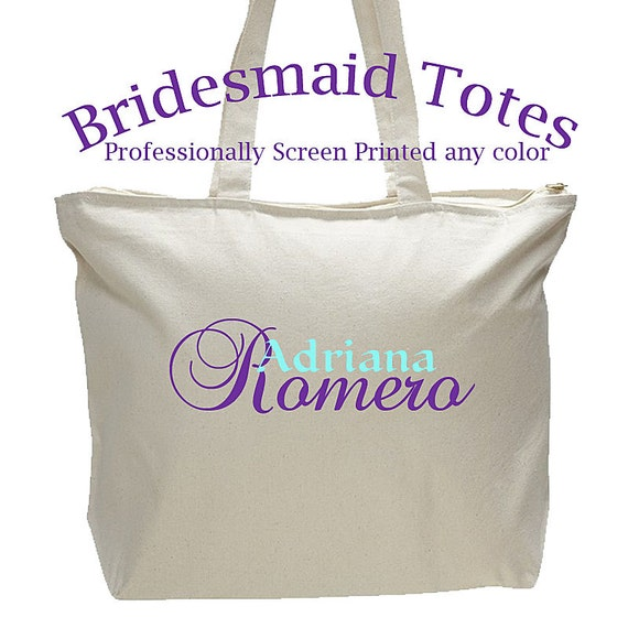 Bridesmaid Bags, Large Tote Bag, Personalized Gift, Zipper Closure, Screen printed Tote Bag, Wedding Gift, Quality made Zipper Closure
