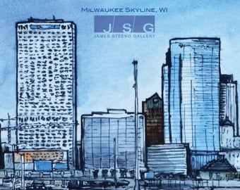 Milwaukee Skyline No 5 Pen, Ink and Watercolor Print by James Steeno