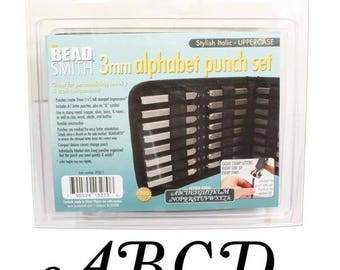 Best Letter Punch Set - 3mm Upper Case Stylish Italic - Stamping Disc Sample Included