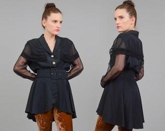 Vintage 80s 90s Black Jacket Sheer Sleeve Blouse Vamp Goth CAPE Jacket Peplum Waist Blazer Wide Belt Medium M