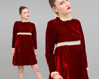 60s Burgundy Crushed Velvet Dress Lace Dolly LOLITA Mini Dress 1960s Twiggy Empire Waist Babydoll Dress Holiday Party Dress XS