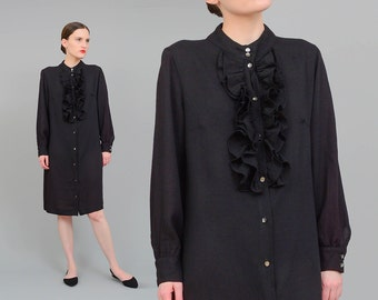 Vintage 60s Black Dress - Ruffled Tuxedo Shirt Dress Button Up Dress - Long Sleeve Minimal Goth Mod Dress - 1960s Midi Dress - Medium M