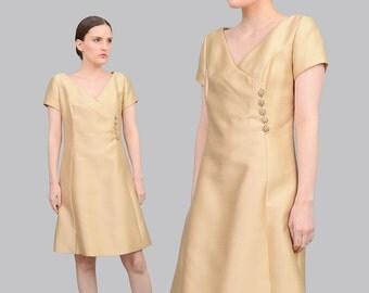 60s Champagne Shantung Silk Dress   Mod Party Dress   A-line Dress Short Sleeve Cocktail Dress Rhinestone Buttons Cream Beige   Medium M