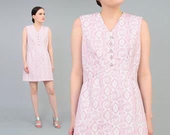 Vintage 60s Pink Geometric Dress - Mod Dress - Knit Sheath Dress - Rhinestone Buttons - Metallic Silver 1960s Party Dress - Medium M