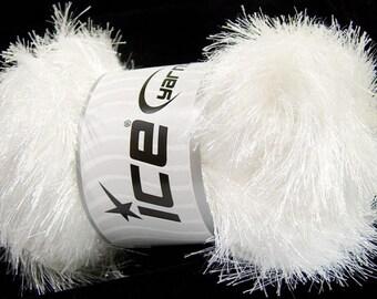 100 Gram White Eyelash Glitz #46549-35794 Ice Sparkly White Eyelash Yarn Bulky, 153 Yards