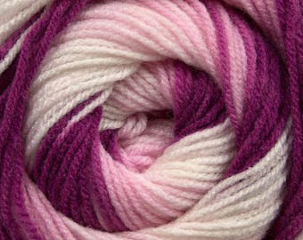 100 gram Magic Light #47989 Pink Berry Cream Ice DK Acrylic Yarn 393 yards Self-Striping Yarn