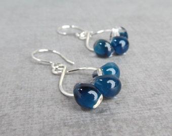 Navy Blue Glass Drop Earrings, Blue Earrings Silver Wire, Blue Lampwork Earrings, Silver Wire Earrings Blue, Sterling Silver Earrings,