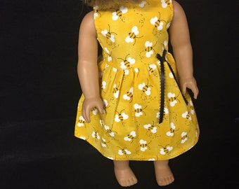 Doll Clothes for 18 Inch Dolls, Handmade to Fit Like American girl,  Busy Honey Bee Fluttering Bee Yellow Sun Dress