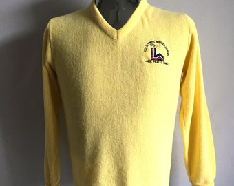 Vintage Men's 80's Olympic Games,Yellow Sweater, Acrylic, V Neck, Pull Over (S/M)