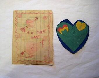 1936 Handmade Valentines,Children's Valentines, Vintage School Valentines, Vintage Handmade Valentines, New Hopewell School Valentines