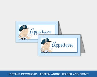 Baby Cop Police Baby Shower Buffet Cards   Food Tent Printable INSTANT DOWNLOAD bs-150