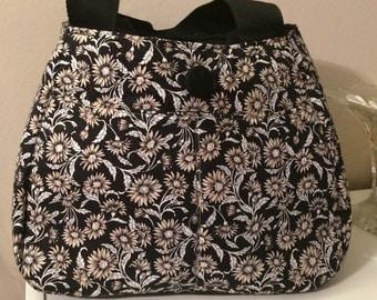 Black and Cream Floral Handbag
