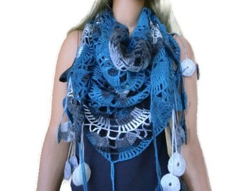 Niagara -Bohemian scarf with fringes, Blue, gray, charcoal and white  Crochet lace scarf -Fine Mohair and Wool
