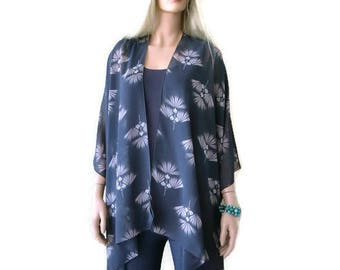 Charcoal Taupe-Oversize kimono -withe fan print-Beach Pareo--oversize chiffon kimono-Ruana