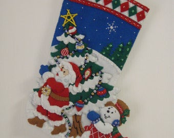 "Bucilla Felted Completed 16"" PICK A TREE Christmas Stocking"