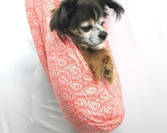 Pet Dog Sling Carrier Orange Rosettes
