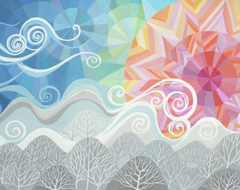 LARGE Still I Rise art print, geometric art, sunrise over mountains and trees, fresh breeze