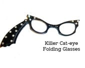 Killer Cat Eye 1950s Lorgnette Folding Reading Glasses with Black w/ Rhinestones. Shooting Star! Perfect 2x Power Magnifying Glasses.