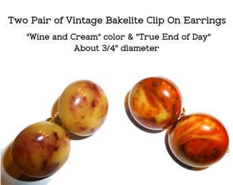Vintage Bakelite Clip On Earrings. 2 Pair. End of Day Bakelite. Bonus Bakelite Bangle!