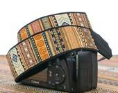 Tribal Stripe dSLR Camera Strap, Southwestern, Camera Neck Strap, Canon Nikon Strap, Pocket, Photography, SLR,  Native American Inspired,141