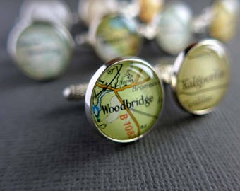 Retirement Gift for Men, Personalized Silver Cufflinks, Map Cufflinks