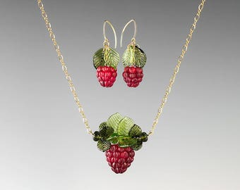 Glass Raspberry Jewelry Set ADJUSTABLE LENGTH Lampwork bead necklace and earrings hand blown glass art birthday gift, anniversary gift cook