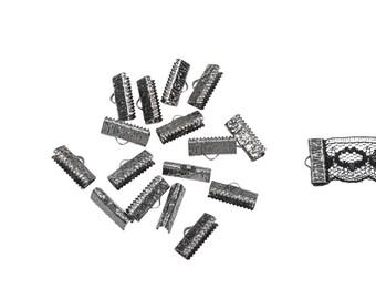 150pcs.  16mm ( 5/8 inch )  Gunmetal Ribbon Clamp End Crimps - Artisan Series