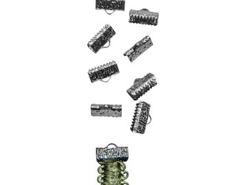 50pcs.  13mm  (1/2 inch)  Gunmetal Ribbon Clamp End Crimps - Artisan Series