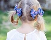 Hair Bow, Bow Headband, Headband, Headbands, Fabric Hair Bow, Hair Clip, Baby Bow, Bow, Alligator Clip, Rifle Paper Co - Rosa In Navy