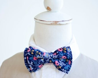 Bow Tie, Bow Ties, Boys Bow Ties, Baby Bow Ties, Bowtie, Bowties, Ring Bearer, Wedding Bow Ties, Rifle Paper Co - PRE-ORDER Rosa In Navy