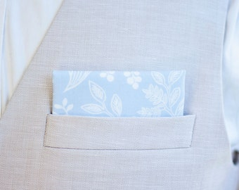 Pocket Square, Pocket Squares, Handkerchief, Mens Pocket Square, Boys Pocket Square, Rifle Paper Co - PRE-ORDER Queen Anne In Pale Blue