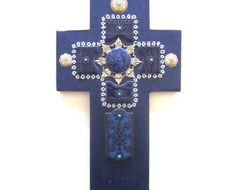 Handmade Vintage Tile Cross Sterling Buttons Religious Assemblage Mixed Media Art