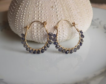Iolite and gold wire wrapped hoop earrings, iolite earrings, iolite jewelry