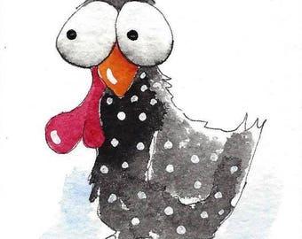ACEO Original watercolor Chicken - Bertha